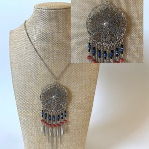 Jewelry - Silver Beaded Dream Catcher Long BoHo Necklace